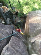 Rock Climbing Photo: Paul cleaning up the Sentinel Crack