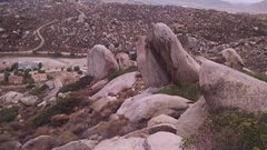 Lizard king boulders with the back side of the dihedral.