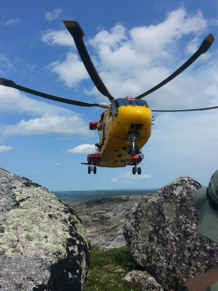 Search and Rescue on a training mission at the time of our climbing. Decided to drop by and have a chat. They then gave us a pile of Beef Steaks, Bars and Water. Only in Newfoundland will that happen!