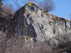 Rock Climbing Photo: Eager Beaver starts down low and climbs left of th...