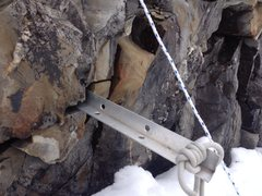 Rock Climbing Photo: Aluminum snow picket just jammed in a chossy crack...