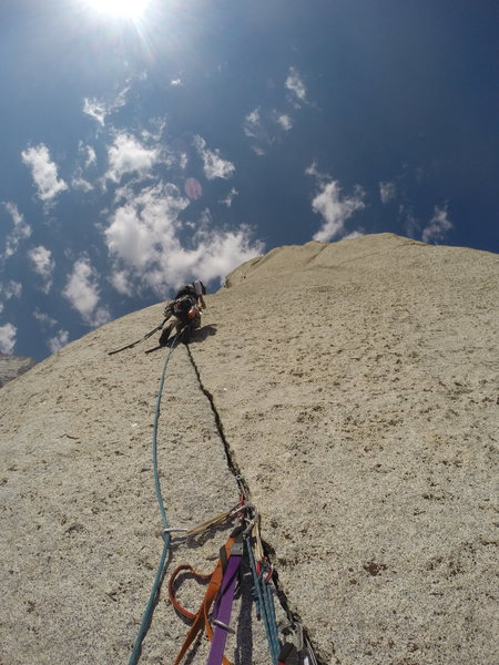 High on the Beckey Route on the Bastille Buttress of Lone Pine Peak