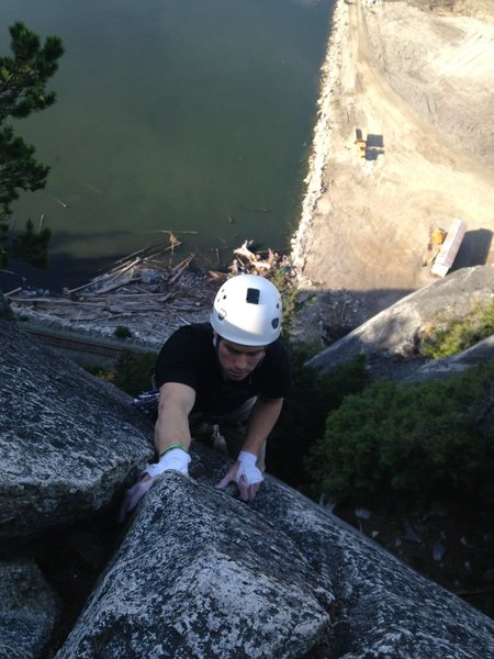 Rock Climbing Photo: Last jug of an awesome climb.  Great setting!