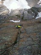 Rock Climbing Photo: TJ Brumme leading through the crux, 7/19/14.
