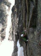 Rock Climbing Photo: Matt Pierce just through the crux on the Variation...