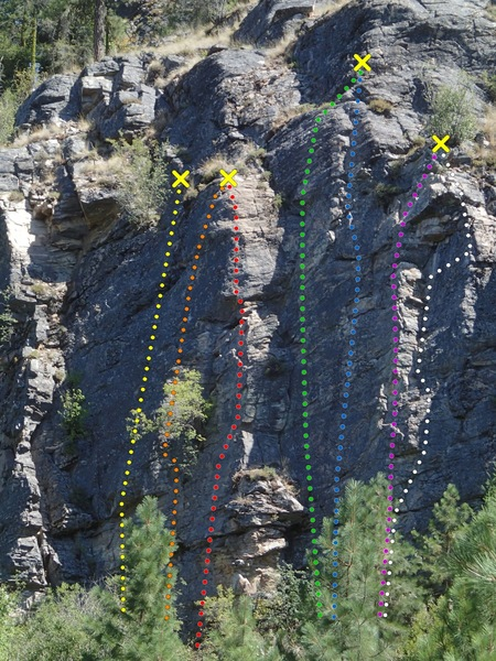 Rock Climbing Photo: Lower Wall - Middle (Newtown Pippin area) - topo