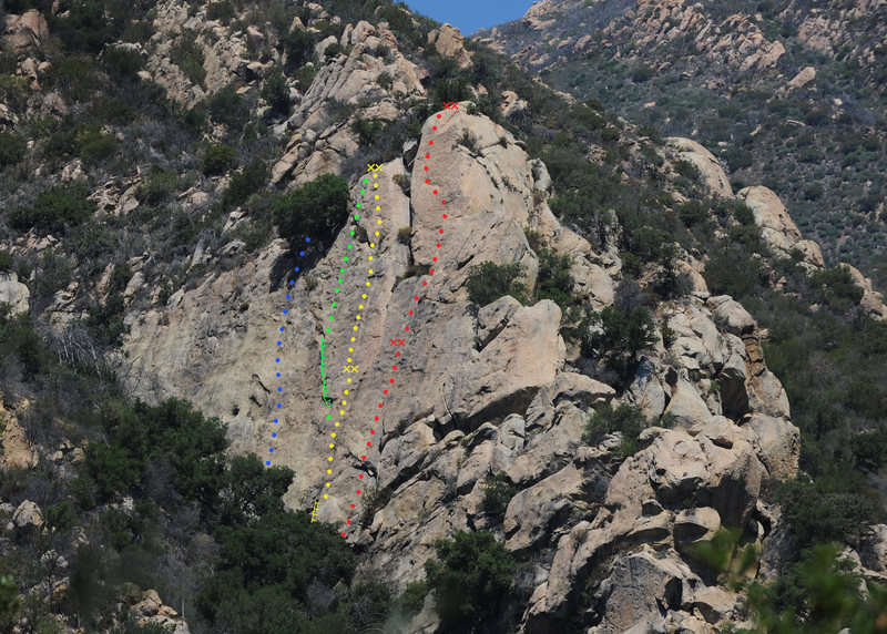 The Fun in the Sun wall, in Rattlesnake Canyon, gets my vote as Santa Barbara's coolest climbing outing. The wall boasts excellent moderate face climbs up to 70 meters tall (70 meters!!). And the upper headwall of Fun in the Sun is simply unforgettable--certainly the best route I've done to date in SB.<br> <br> Blue - Written Exam 5.9<br> Green - King Snake Crack (5.7)<br> Yellow - Tender Flakes of Mercy (5.8)<br> Red - Fun in the Sun (5.8)