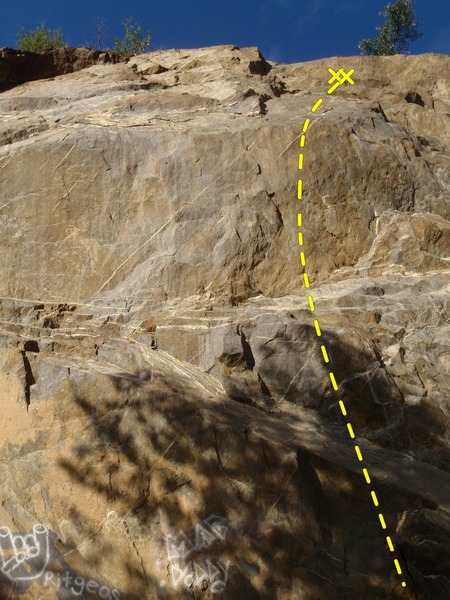 Rock Climbing Photo: Gain-A-Turn is the route 6' left of the cabled per...