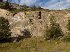 Rock Climbing Photo: Look for the cable on a hanger to locate this rout...