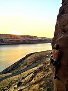 """Rock Climbing Photo: Brandon takes a sunset lap on """"Loess Without ..."""