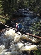 Rock Climbing Photo: The log crossing just up stream from the old campg...