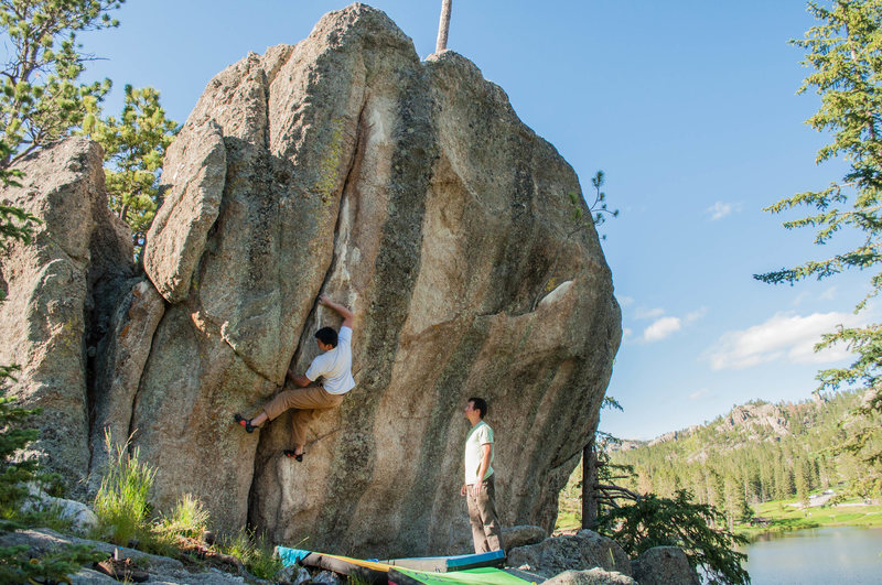 Rock Climbing Photo: Michael Madsen climbing while Matt Cochran spots. ...