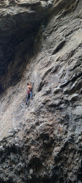 Rock Climbing Photo: Setting up for the crux crimping. July 2014.