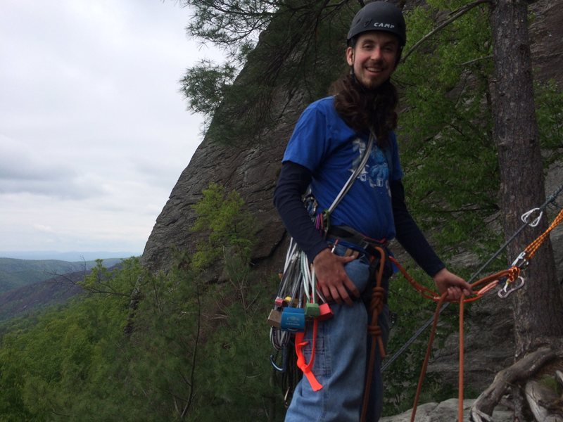 First belay ledge. The anchor in the background is for a group from Outward Bound that were doing laps on the first pitch.