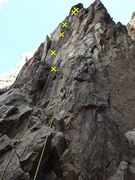 New Arete AKA Entrance Exam. First bolt not pictured (is slightly to the left of the frame).