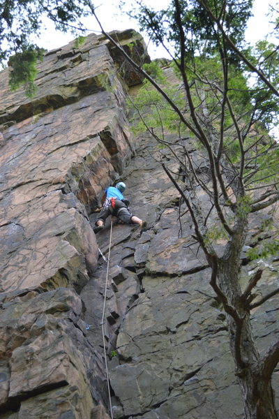 Rock Climbing Photo: Me leading into the crux.