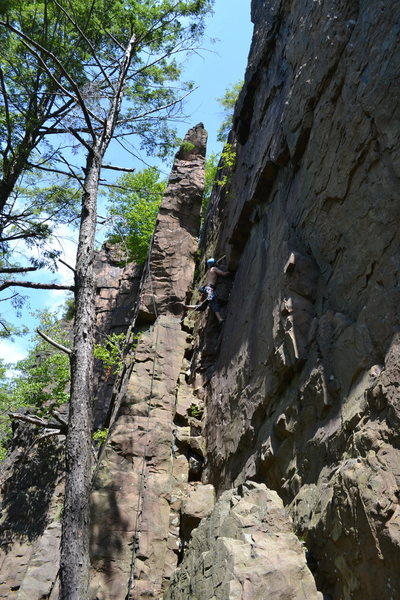 Rock Climbing Photo: Followed the crack behind the block after the firs...