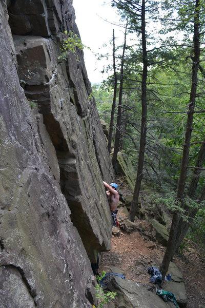 Rock Climbing Photo: Me pulling through the awkward start.