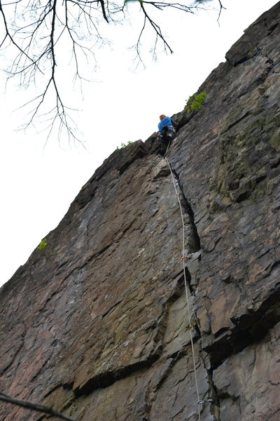 Rock Climbing Photo: My first lead on Unconquerable. (Don't mind the nu...