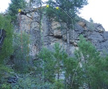 Rock Climbing Photo: Lower Wall - Left Side (Out of Sight area) topo
