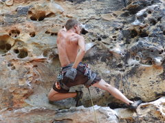 Rock Climbing Photo: Gabe on Fuzzy Undercling 5.11a