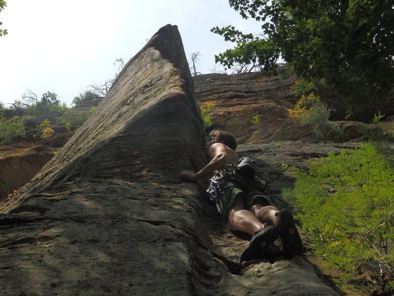 Rock Climbing Photo: Gabe on Eye of The Needle 5.11b