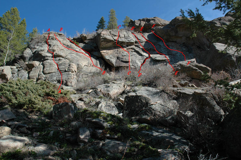 A - 5.4, a little bouldering mantel at the start is the real fun. <br> B - 5.2 access to the top. <br> C - hardest route on this wall. The roof is a 5.9. <br> D - A fun 5.8 route. <br> E - the central crack. Fun. <br> F - a fun 5.6 face route that starts with a lay-back up a crack to access the face.
