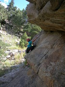 Rock Climbing Photo: Deb wanders up the route.