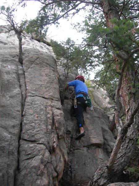 Rock Climbing Photo: Deb scrambles up.