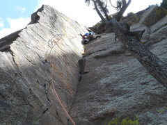 Rock Climbing Photo: Pulling through the top out on P2, Pony Express.