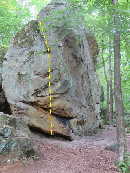 Nice boulder on Main trail below crag.<br> <br> I played on 3 problems here.<br> <br> One off of this side of the rock.  I did not send, one long move in the center will be a V4ish for shorter climbers, tall lanky climbers might be able to hit it much easier.   <br> <br> No sends but ill name the project &quot;perdy mouth&quot;    <br> Kinda looks like a face... no?  the teeth?... nose?