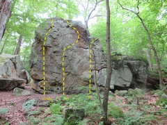 Rock Climbing Photo: Front of same boulder.  20 feet high at top.   3 p...