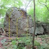 Front of same boulder.  20 feet high at top. <br> <br> 3 problems up the front, maybe a short one yet on the right<br> <br> A hard V0-V1ish problem up the center to top out<br> <br> (no info on first sends, I sent it first try, ill name it &quot;frosted flakes&quot;  because of the flake like features of this problem. <br> <br> on the right slightly shorter V1 ish problem, one really good move on it. <br> <br> V3 -V4ish up the left, the start is a super fun sequence.  Again shorter climbers will be where i am at with this, tall folks might be able to reach a few key holds easier?? <br> <br> no sends, but i see the line, just need to make it happen.  Ill name this project &quot;Varicose Veins&quot;  Thats what the vein features up higher remind me of.  Super fun problem, some options to start, all feel about the same to me, use what works for you.
