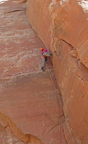 Reinsel below the layback crux on her FA bid.