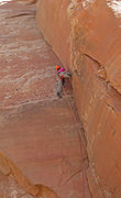 Rock Climbing Photo: Reinsel below the layback crux on her FA bid.