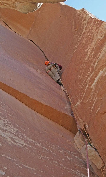 Rock Climbing Photo: Emily clears the dirty start and enters the classi...