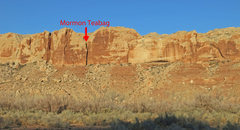 Rock Climbing Photo: Overview from old road on hike in with route marke...