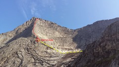 Rock Climbing Photo: Final approach and climb from the gearing up plate...