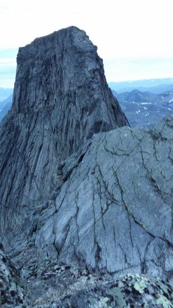 View back along the descent ridge