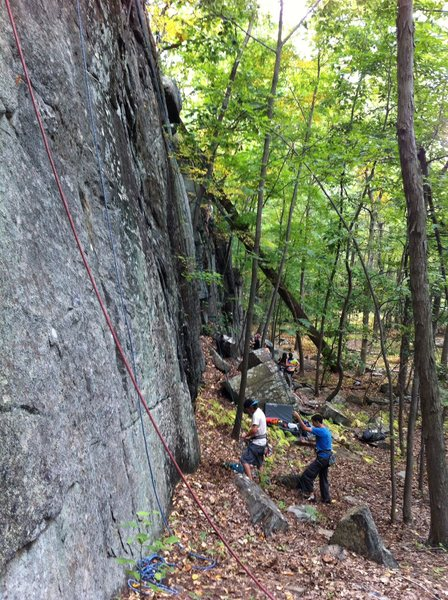 People belaying on the Basilisk Wall. Great for groups!