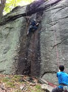 Rock Climbing Photo: Projecting Hashtag Swag Yolo. The belayer is Justi...