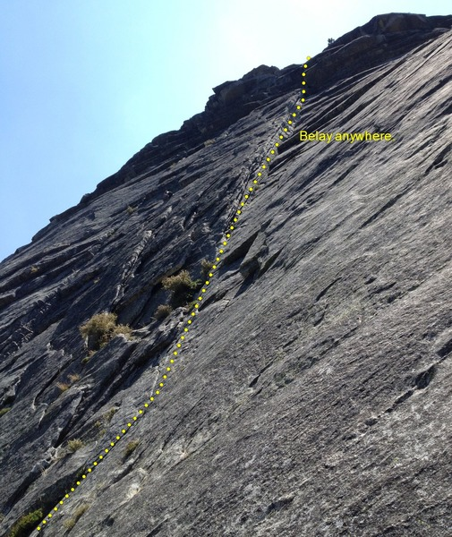 Harvey's Wallbanger, Right, seen from the starting ledge. It follows another perfect straightforward natural line in the Hogsback.