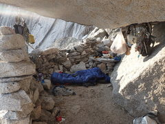 Rock Climbing Photo: Howser Boulder Bivy.  Watch out for the pack rat!