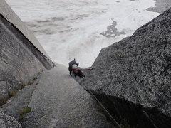 Rock Climbing Photo: Megan following the first pitch.