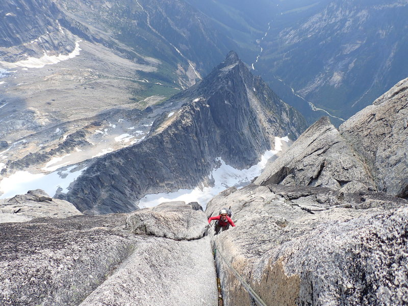 A couple pitches below the summit ridge.