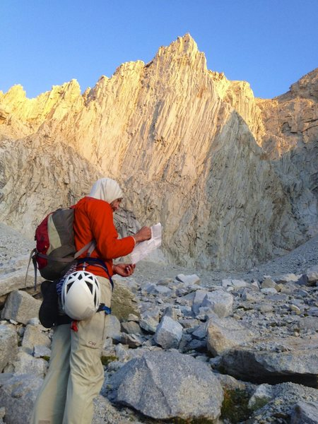Approaching the base of the east face