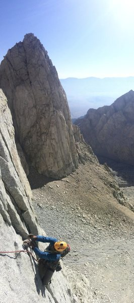 Rock Climbing Photo: Climbing on Pitch 4 with Shaw Spire in the backgro...