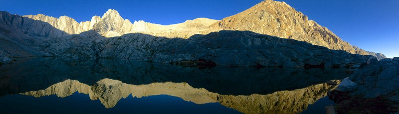 Sunrise panorama from the camping below Mt. Carl Heller