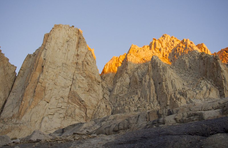 Sunrise on Tulainyo Tower and Mt. Carl Heller
