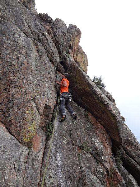 Rock Climbing Photo: Climbing into the notch.